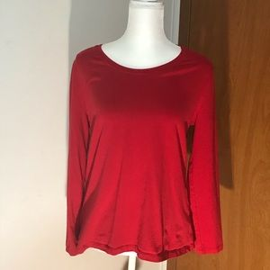 Hannah simple red long sleeve top